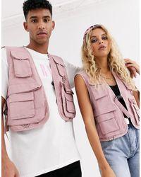 Reclaimed (vintage) Розовый Жилет Unisex - Многоцветный