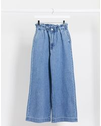 Monki Lizette Organic Cotton Paperbag Waist Wide Leg Jeans - Blue
