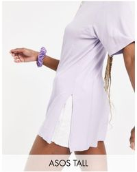 ASOS Asos Design Tall Oversized T-shirt With Side Splits And Stitch Detail - Purple