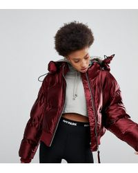 Ivy Park High Shine Padded Coat In Burgundy - Red