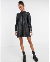 Object Leather Mini Dress With Ruched Sleeves - Black