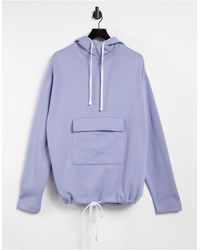 ASOS Oversized Hoodie With Tie Hem And Pocket - Blue