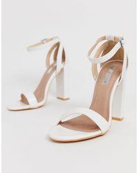 Lost Ink Blaise Block Heel Sandal In White
