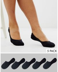 ASOS 5 Pack Invisible Socks With Back Grip Band Detail - Black