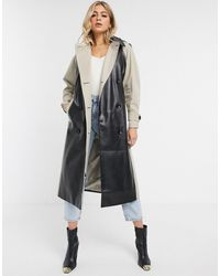 ASOS Leather Look Panelled Trench Coat - Black