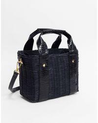 ASOS Natural Rattan Bucket Bag - Black
