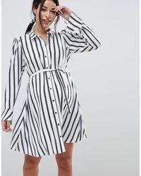 ASOS Asos Design Maternity Stripe Long Sleeve Shirt Mini Dress - Multicolor