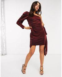 Forever Unique Metallic One Shoulder Dress - Red