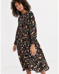 Never Fully Dressed - Приталенное Платье Миди Со Сборками И Цветочным Принтом -мульти - Lyst