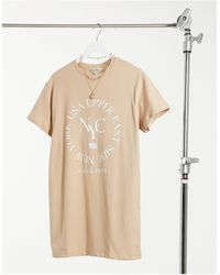 Miss Selfridge Robe t-shirt à imprimé « New-York » - Neutre