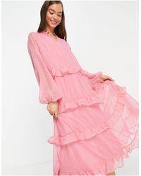 Vila Розовое Шифоновое Платье Миди С Ярусной Юбкой -розовый Цвет