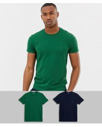 Emporio Armani - Eagle Logo 2 Pack T-shirts In Navy/green - Lyst