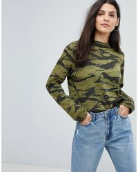 M.i.h Jeans Camo Print Oversized Jersey Top - Green