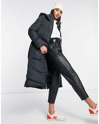 AX Paris Belted Longline Puffer Coat - Black