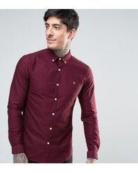 Farah - Stretch Skinny Fit Oxford Shirt Buttondown Exclusive In Red - Lyst