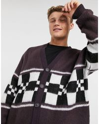 ASOS Asos Desgn Knitted Cardigan With Checkerboard Panel - Purple