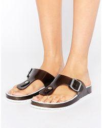 Blink Jelly Toepost Flat Sandal - Black