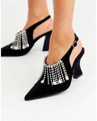 ASOS Stellar - Chaussures ornées en velours à talon mi-haut - Noir