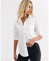 New Look Белая Рубашка На Пуговицах С Карманом -белый