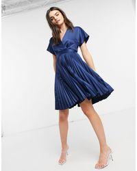 Closet Robe patineuse cache-cœur mi-longue à plis - Bleu marine