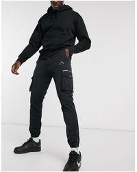 River Island Nylon Cargo Pants - Black