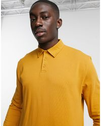 ASOS Relaxed Fit Rugby Polo Long Sleeve T-shirt - Yellow