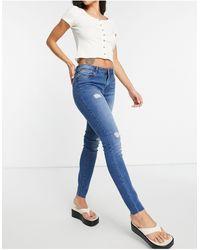 Vero Moda Skinny Jeans With Rips - Blue