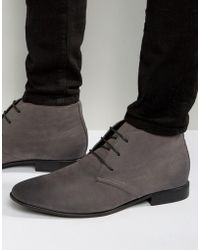 ASOS - Design Lace Up Boots In Grey Faux Suede - Lyst