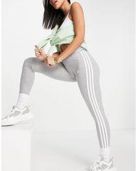 adidas Originals Adidas Training - Leggings grigi con 3 strisce - Grigio