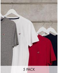 Hollister Комплект Из 5 Футболок С Маленьким Логотипом В Цветах Белый/серый/бордовый/темно-синий/черный Меланж-мульти - Многоцветный
