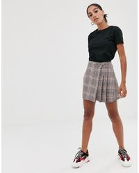 ASOS Check Mini Wrap Skirt With Diamante Trim - Multicolour