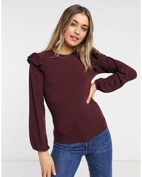 New Look Soft Rib Frill Shoulder Top - Red