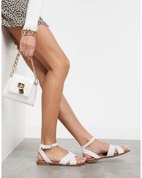 ALDO Cross Front Two Part Sandals - White