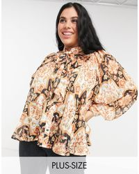 Simply Be Pussybow Blouse With Pleat Detail - Multicolour