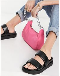 Pull&Bear Faux Leather Sandals - Black