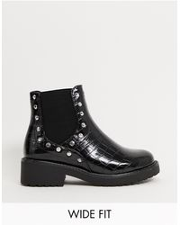 London Rebel Wide Fit Studded Chunky Chelsea Boots - Black