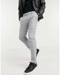 TOPMAN Skinny Smart Trousers With Light Grey Check