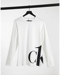 Calvin Klein Белый Лонгслив С Круглым Вырезом Ck One