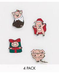 ASOS Kerstmis - Badge-set Met Varkentjes - Meerkleurig