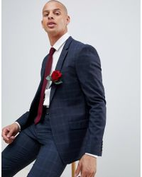 River Island - Wedding Suit Jacket In Navy Check - Lyst