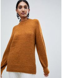 Warehouse - Premium Wool Blend Jumper With Blouson Sleeves In Ochre - Lyst