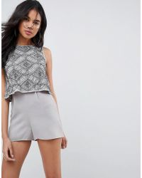 ASOS - Embellished Layer Playsuit - Lyst