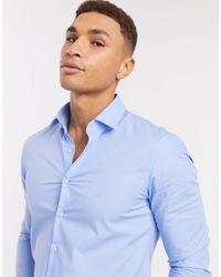 Calvin Klein Поплиновая Эластичная Рубашка Облегающего Кроя -синий