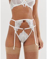 ASOS Amyah Lace Ring Detail Suspender - White
