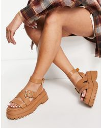Public Desire Follow Chunky Sandals With Ankle Strap - Multicolour