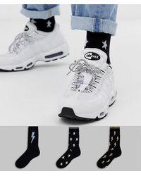 ASOS - 3 Pack Ankle Socks With Lightning Design In Glitter Save - Lyst
