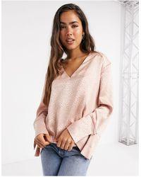 River Island - Розовая Атласная Блузка С V-образным Вырезом -розовый Цвет - Lyst
