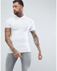 4cde13fb691a1f Lyst - ASOS Longline Muscle Fit Jersey Polo In White in White for ...