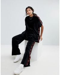 Lazy Oaf - Velour Tracksuit Bottoms With Heart Poppers - Lyst