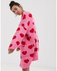 Lazy Oaf Extreme Oversized Cardigan With Hearts - Pink